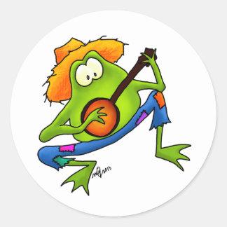 Rana del Bluegrass del banjo Pegatina Redonda