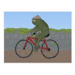 Rana del caballero en una postal de la bicicleta