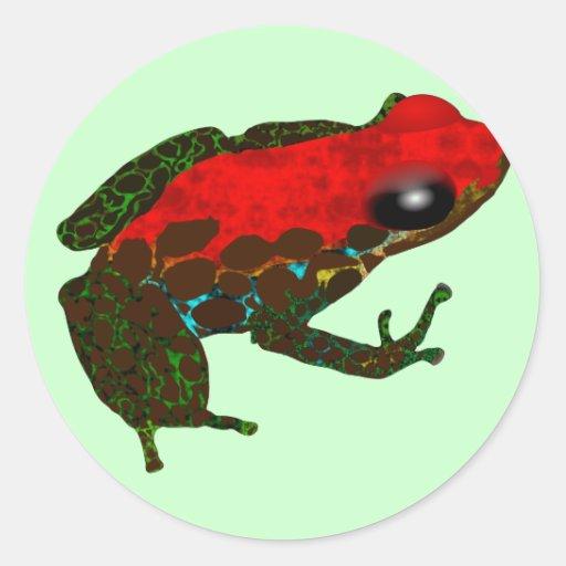 Rana del dardo de la selva tropical etiquetas redondas