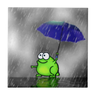 Rana del día lluvioso azulejo cuadrado pequeño
