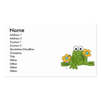 rana del froggy de la flor tarjetas de visita