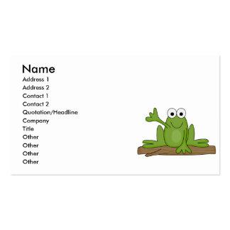 rana del froggy que agita tarjetas de visita
