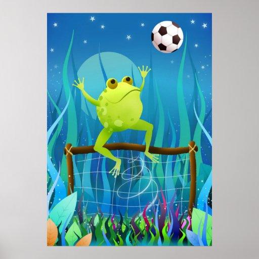 Rana del fútbol en la noche impresiones