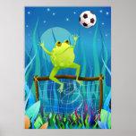 Rana del fútbol en la noche póster