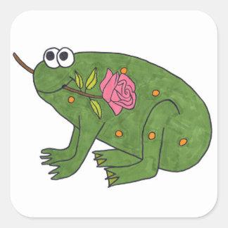 Rana del Pongo con color de rosa (pegatinas Colcomanias Cuadradas
