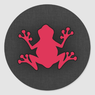 Rana del rojo carmesí pegatina redonda