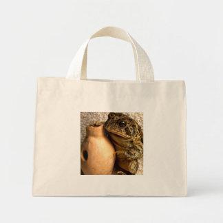 Rana del sapo que sostiene la fotografía miniatura bolsas