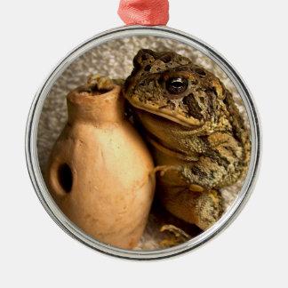 Rana del sapo que sostiene la fotografía miniatura adorno redondo plateado