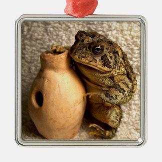 Rana del sapo que sostiene la fotografía miniatura adorno cuadrado plateado