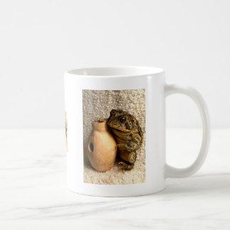 Rana del sapo que sostiene la fotografía miniatura tazas