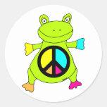 Rana del signo de la paz pegatinas redondas