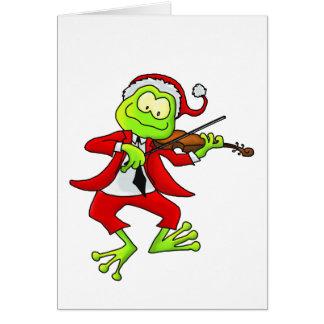 Rana del violín del navidad tarjeta de felicitación