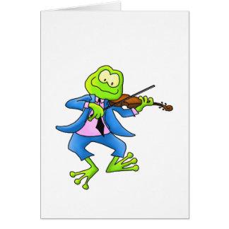 Rana del violín tarjeta de felicitación