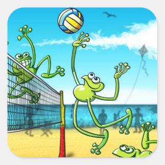Rana del voleibol pegatina cuadrada
