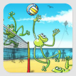 Rana del voleibol pegatina cuadradas