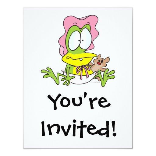 """rana divertida del froggy de la niña en dibujo invitación 4.25"""" x 5.5"""""""