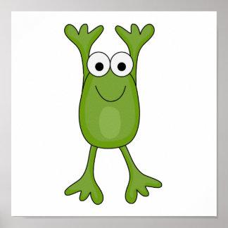rana divertida del froggy póster