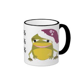 Rana divertida del navidad con decir tazas de café