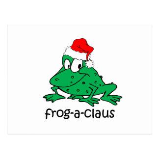 Rana divertida del navidad tarjeta postal