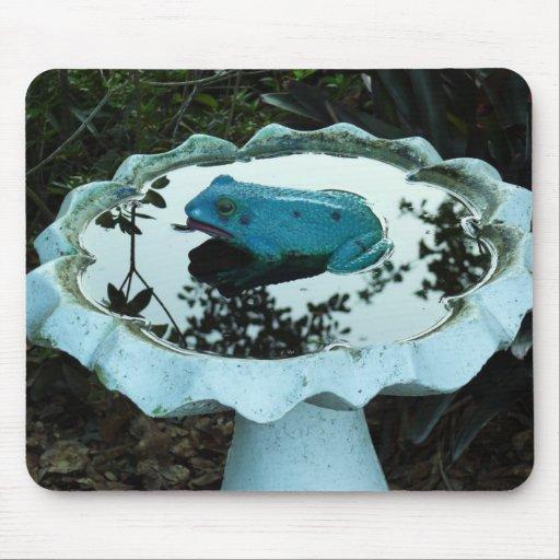 Rana en Birdbath Alfombrillas De Raton