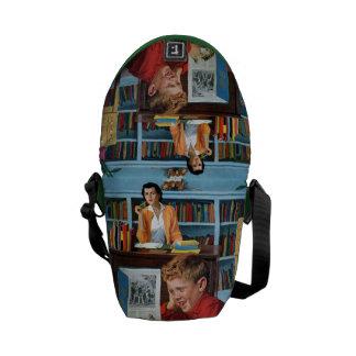 Rana en la biblioteca bolsas messenger