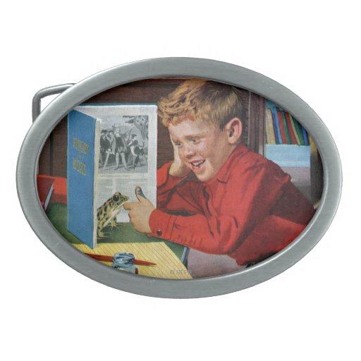 Rana en la biblioteca hebilla de cinturón oval