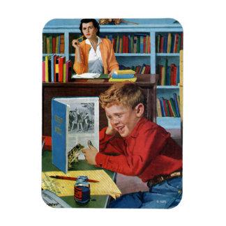 Rana en la biblioteca rectangle magnet