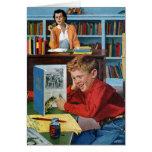 Rana en la biblioteca tarjeta de felicitación