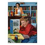 Rana en la biblioteca tarjeta pequeña