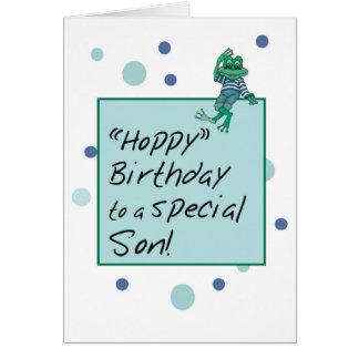 Rana en vaqueros, cumpleaños, lunares del hijo tarjeta de felicitación
