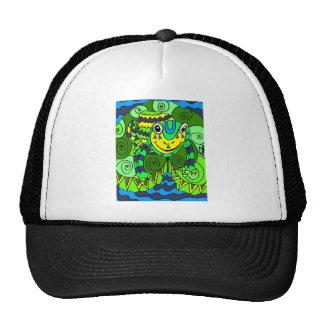 Rana en verde claro y azul gorra
