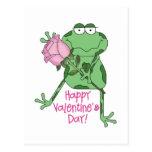 Rana feliz del el día de San Valentín Postales