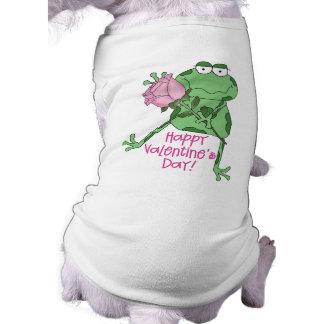 Rana feliz del el día de San Valentín Camiseta De Perrito