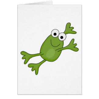 rana feliz del salto tarjeta de felicitación