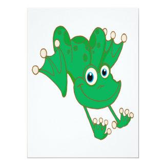 rana feliz linda del dibujo animado del verde de invitación 16,5 x 22,2 cm