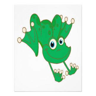 rana feliz linda del dibujo animado del verde de l comunicados personalizados