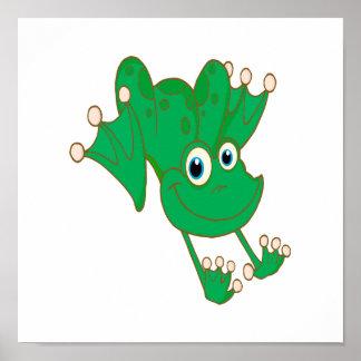 rana feliz linda del dibujo animado del verde de l póster