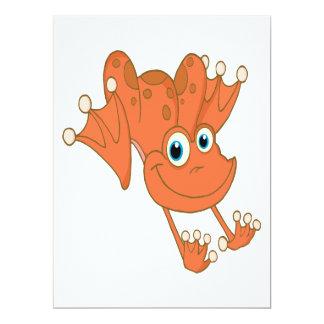 rana feliz linda del naranja de la lupulización invitación 16,5 x 22,2 cm