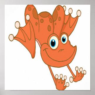 rana feliz linda del naranja de la lupulización posters