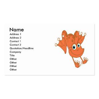 rana feliz linda del naranja de la lupulización tarjetas de visita