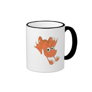 rana feliz linda del naranja de la lupulización taza de dos colores