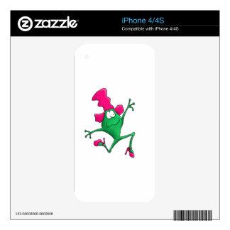 Rana feliz rosada de Stilletto Skin Para El iPhone 4