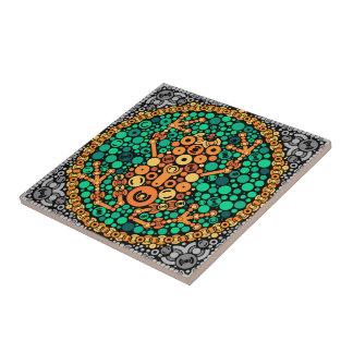 Rana inalámbrica, prueba de la opinión de color, azulejo cuadrado pequeño