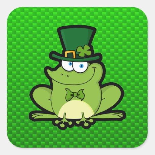Rana irlandesa verde pegatina cuadrada