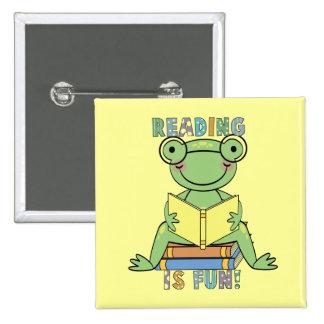 Rana - la lectura es camisetas y regalos de la div pin cuadrada 5 cm