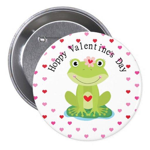 Rana linda de la tarjeta del día de San Valentín Pin Redondo De 3 Pulgadas
