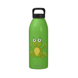 Rana linda del dibujo animado botella de beber