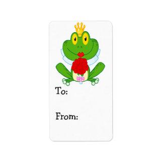 rana linda del froggy de la novia del dibujo anima etiqueta de dirección