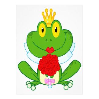 rana linda del froggy de la novia del dibujo anima invitacion personalizada