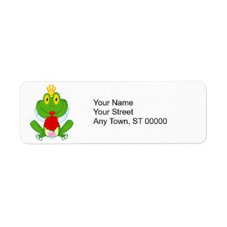 rana linda del froggy de la novia del dibujo etiquetas de remite